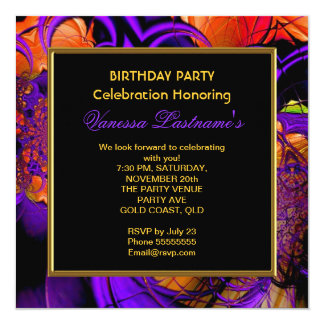 Abstract Art Metal Purple Orange Birthday Party 13 Cm X 13 Cm Square Invitation Card