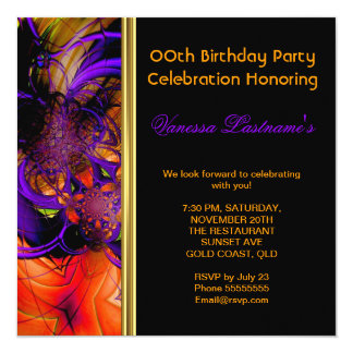 "Abstract Art Metal Purple Orange Birthday Party 5.25"" Square Invitation Card"