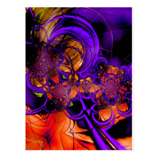 Abstract Art Metal Purple Orange Crochet Zizzago Postcard