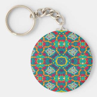 Abstract Art Mosaic Pattern Key Ring