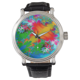 Abstract Art Multi Color Background Watch