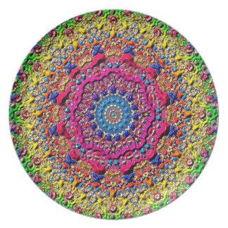 Abstract Art Multi Color Circular Design Plate