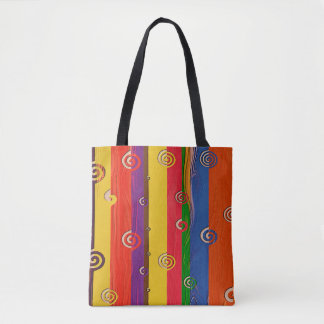 Abstract Art Multi Color Stripe And Twirls Tote Bag
