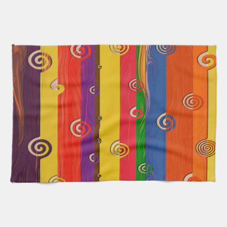 Abstract Art Multi Color Stripe And Twirls Towels