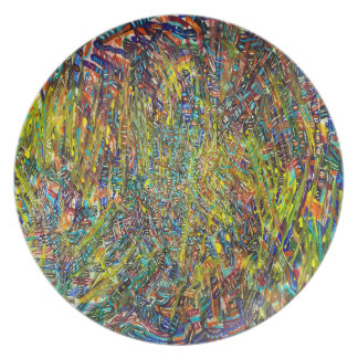 Abstract Art Multi Colorful Strokes Plates