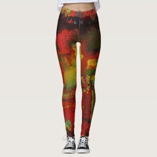 Abstract Art Multicolor Leggings - Diamond Pattern