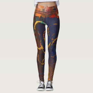 Abstract Art Multicolor Leggings - Gold Rings