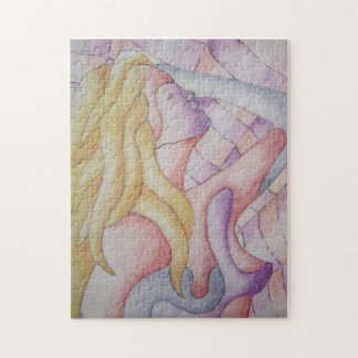 abstract art multicolored pink posing lady retro jigsaw puzzle