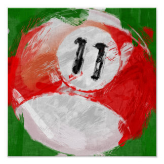 Abstract Art Number 11 Billiards Ball Posters