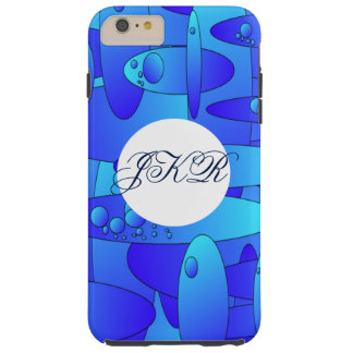 Abstract art oval shapes in blue/green monogram tough iPhone 6 plus case