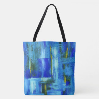 Abstract Art Painting Blue Green Gold Brushstrokes Tote Bag