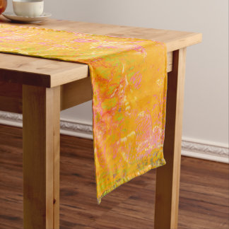 Abstract Art Painting Orange Yellow Pink Red Green Medium Table Runner