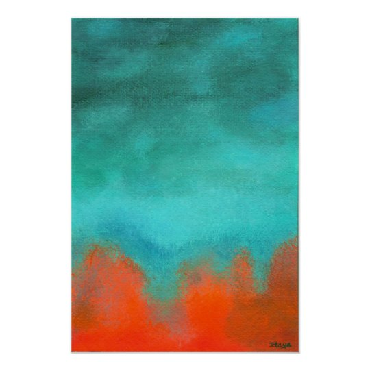 Abstract Art Painting, Red, Orange, Aqua, Teal Poster