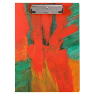 Abstract Art Painting Red Orange Gold Green Clipboard