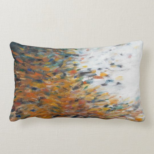 Abstract Art Painting Teal Orange White Pillow