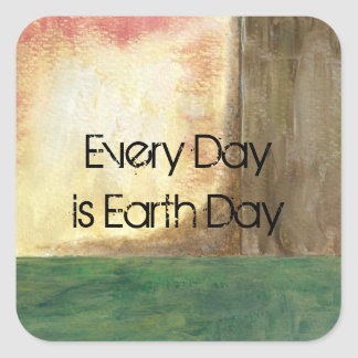 Abstract Art Painting Tree Every Day is Earth Day Square Sticker