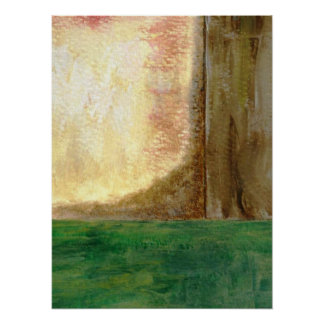 Abstract Art Painting Tree Forest Green Earth Poster
