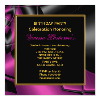 "Abstract Art Pink Black Gray Birthday Party 5.25"" Square Invitation Card"