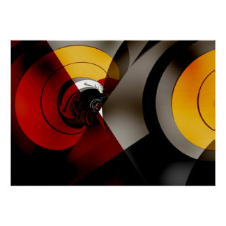 Abstract Art Poster Lunar Space Red Yellow