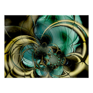 Abstract Art Poster Metal Gold Teal Glass