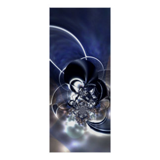 Abstract Art Poster Metal Reflect Blue