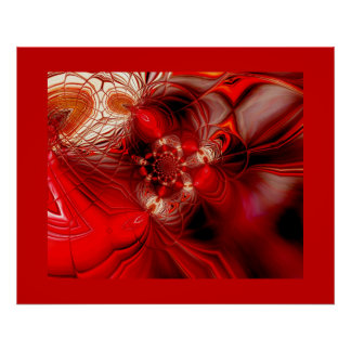 Abstract Art Poster Wrapped In Red 2