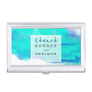 Abstract Art Professional Watercolor Design Green Business Card Holders