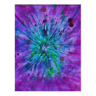 Abstract art purple, blue and aqua starburst postcard