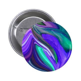 Abstract Art Purple N Teal Leaf 6 Cm Round Badge