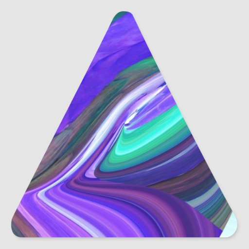 Abstract Art Purple N Teal Leaf Triangle Sticker