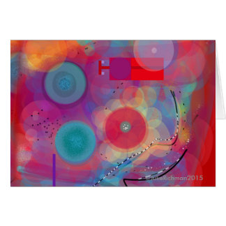 Abstract Art Red Circles All Purpose Carde Greeting Card