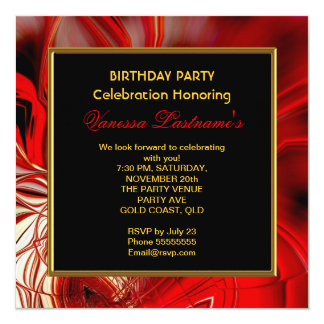 "Abstract Art Red Cocoon Birthday Party 2 5.25"" Square Invitation Card"