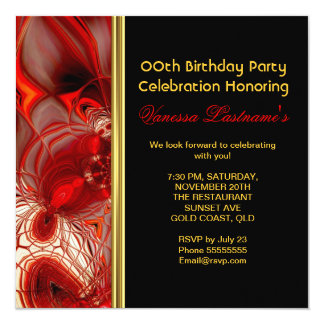 "Abstract Art Red Cocoon Birthday Party 5.25"" Square Invitation Card"
