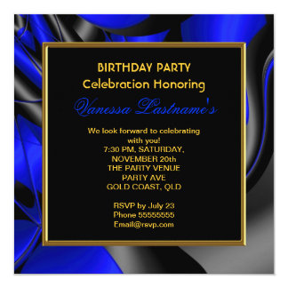 "Abstract Art Royal Blue Gray Birthday Party 5.25"" Square Invitation Card"