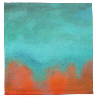 Abstract Art Sky Fire Lava Coral Turquoise Orange Napkin