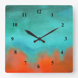Abstract Art Sky Fire Lava Coral Turquoise Orange Square Wall Clock
