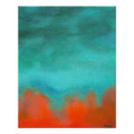 Abstract Art Sky Fire Lava Red Orange Turquoise Poster