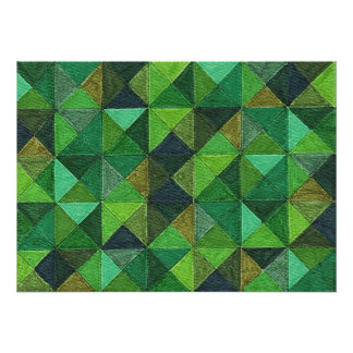 Abstract Art Study Green Diamonds Poster Print