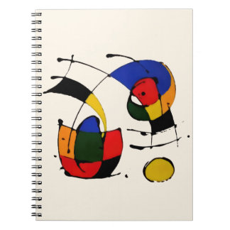 Abstract Art Surrealism in the style of Joan Miro Spiral Notebook