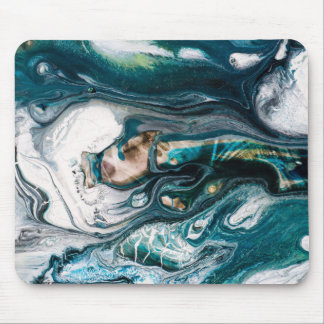 Abstract art teal turquoise  white copper mouse mat