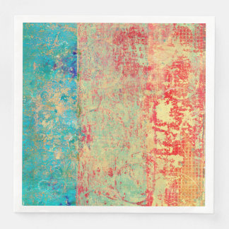 Abstract Art Texture Painting Turquoise Red Green Disposable Napkins
