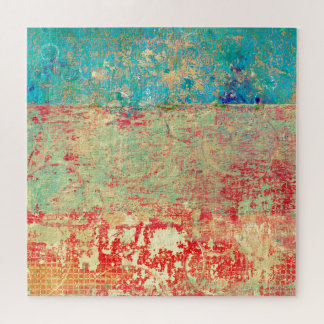 Abstract Art Texture Painting Turquoise Red Green Jigsaw Puzzle