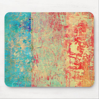 Abstract Art Texture Painting Turquoise Red Green Mouse Pad