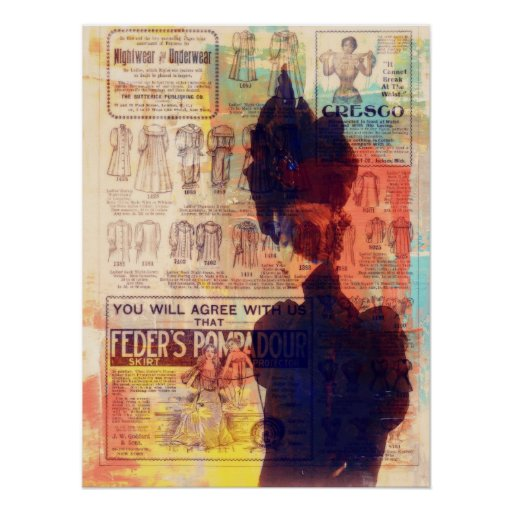 Abstract Art Vintage Woman She Remembers Medium Poster