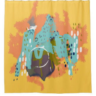 Abstract Art Whimsical Architecture Gold Mint Navy Shower Curtain