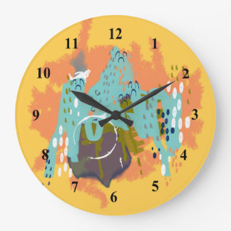 Abstract Art Whimsical Architecture Gold Mint Navy Wallclocks