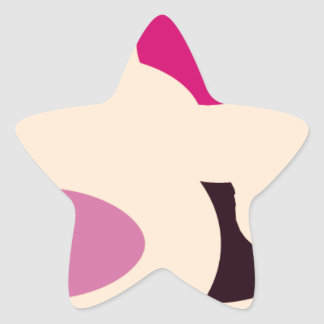 Abstract art with combination color of pink&red star sticker