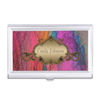 Abstract Art with Vintage Frame Business Card Holder