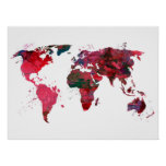 Abstract Art World Map Poster
