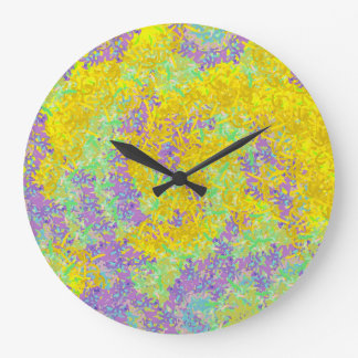 Abstract Art Yellow And Lilac Pattern Large Clock